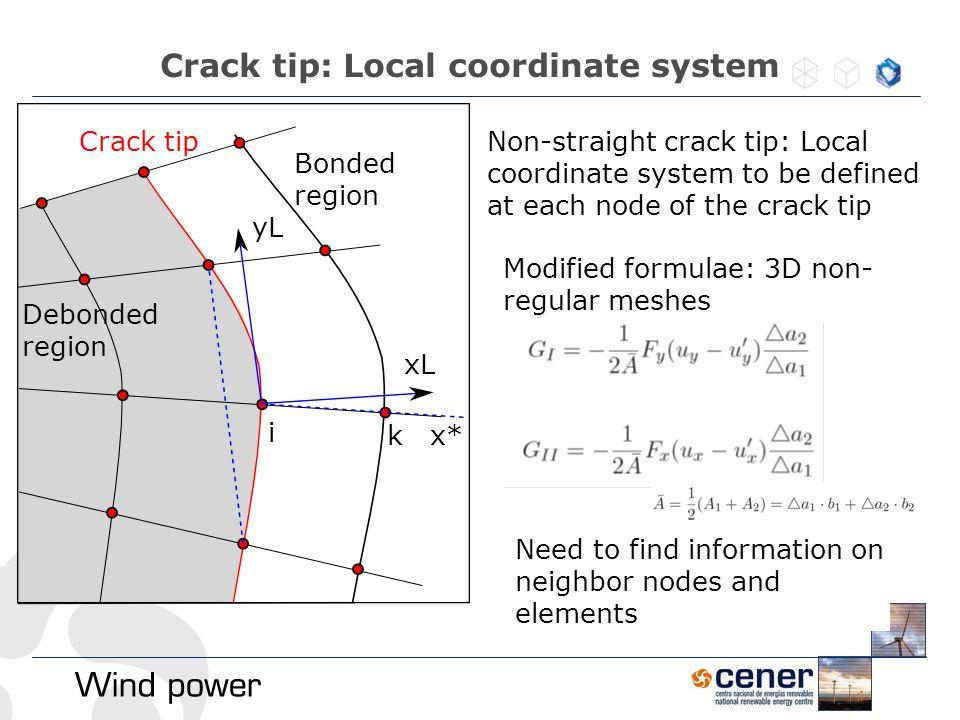 Crack tip: Local coordinate system yL xL i x* k Non-straight crack tip: Local coordinate system to be defined at each node of the crack tip Debonded r