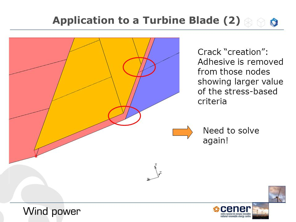 """Application to a Turbine Blade (2) Need to solve again! Crack """"creation"""": Adhesive is removed from those nodes showing larger value of the stress-base"""