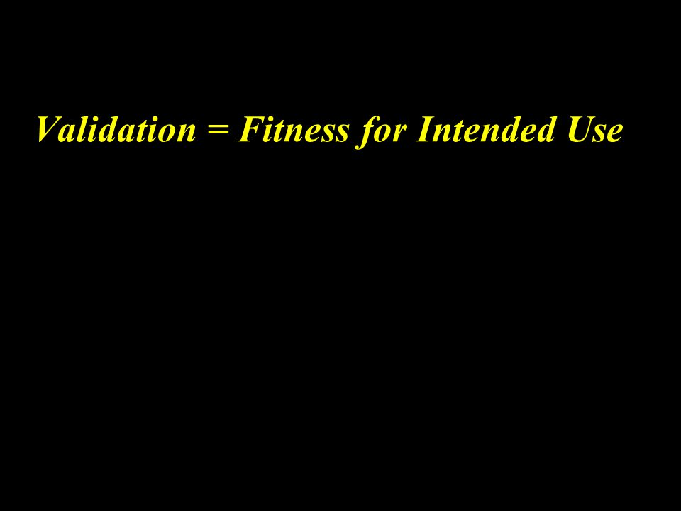 Validation = Fitness for Intended Use