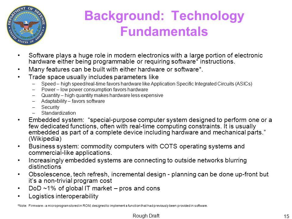 Background: Technology Fundamentals Software plays a huge role in modern electronics with a large portion of electronic hardware either being programmable or requiring software* instructions.