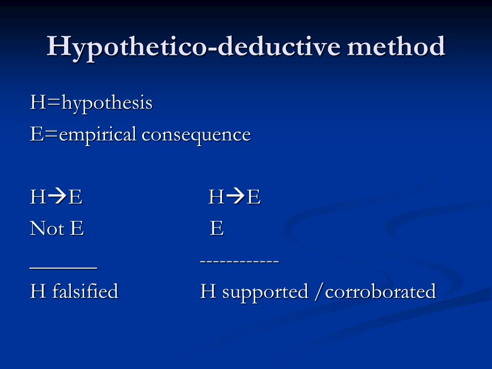 Hypothetico-deductive method H=hypothesis E=empirical consequence H  E H  E Not E E ______ ------------ H falsified H supported /corroborated
