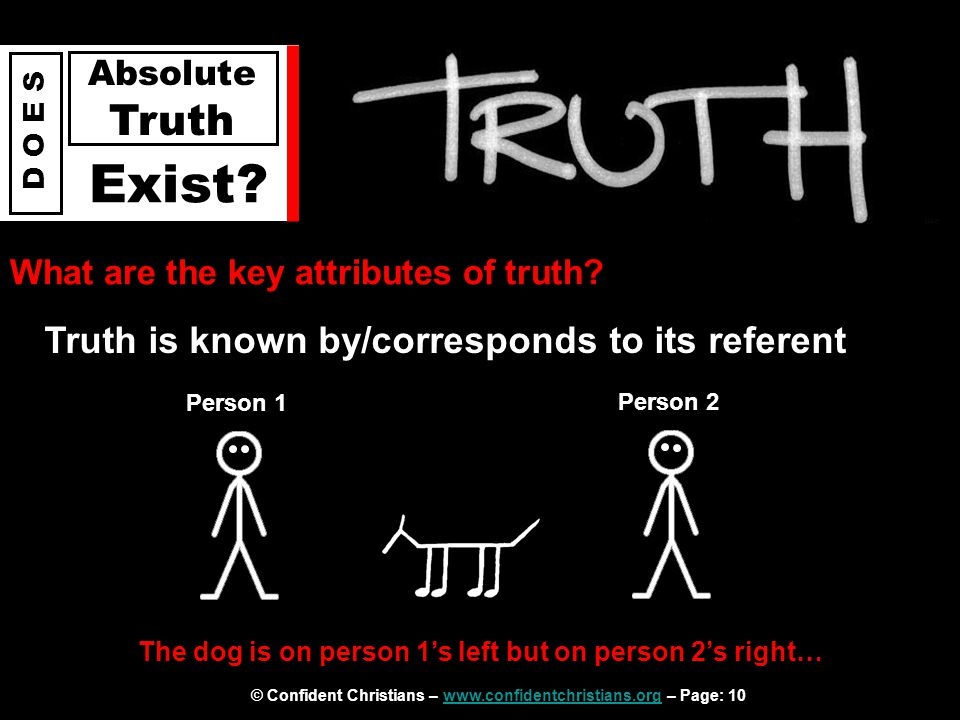 © Confident Christians – www.confidentchristians.org – Page: 10www.confidentchristians.org D O E S Absolute Truth Exist? What are the key attributes o