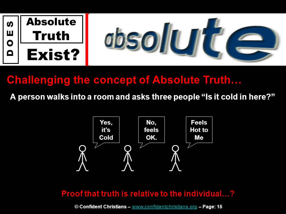 © Confident Christians – www.confidentchristians.org – Page: 15www.confidentchristians.org D O E S Absolute Truth Exist? Challenging the concept of Ab