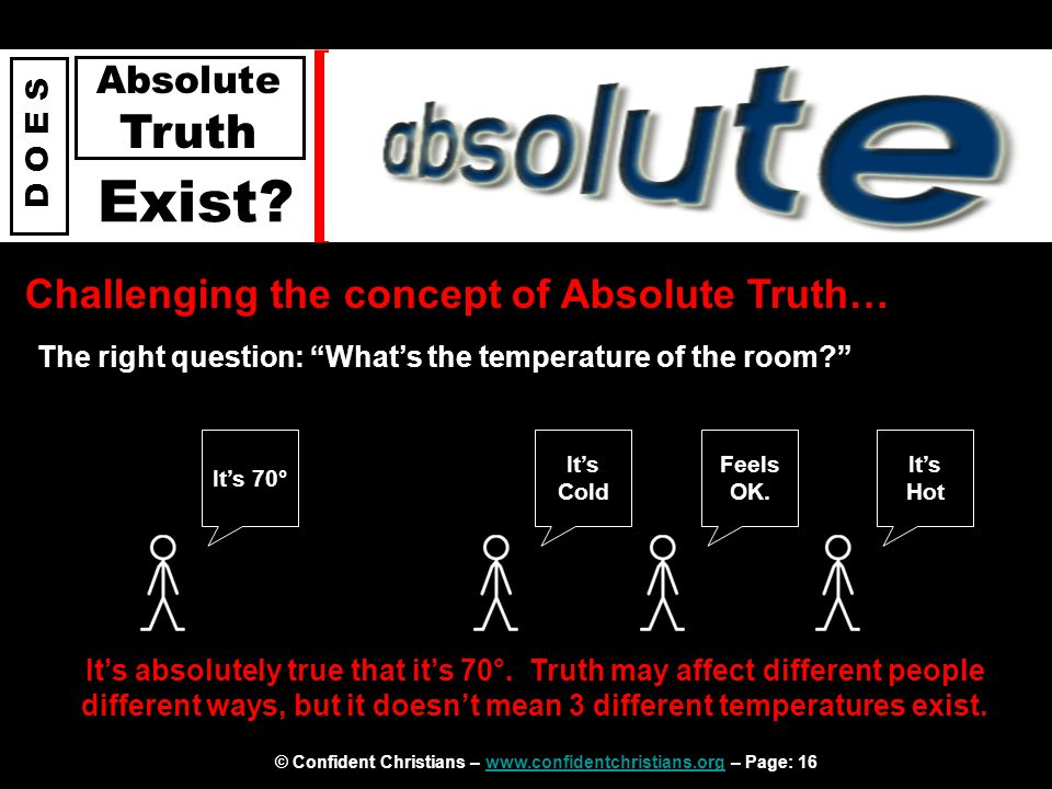 © Confident Christians – www.confidentchristians.org – Page: 16www.confidentchristians.org D O E S Absolute Truth Exist? Challenging the concept of Ab
