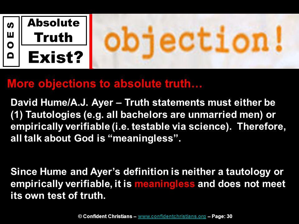 © Confident Christians – www.confidentchristians.org – Page: 30www.confidentchristians.org D O E S Absolute Truth Exist.