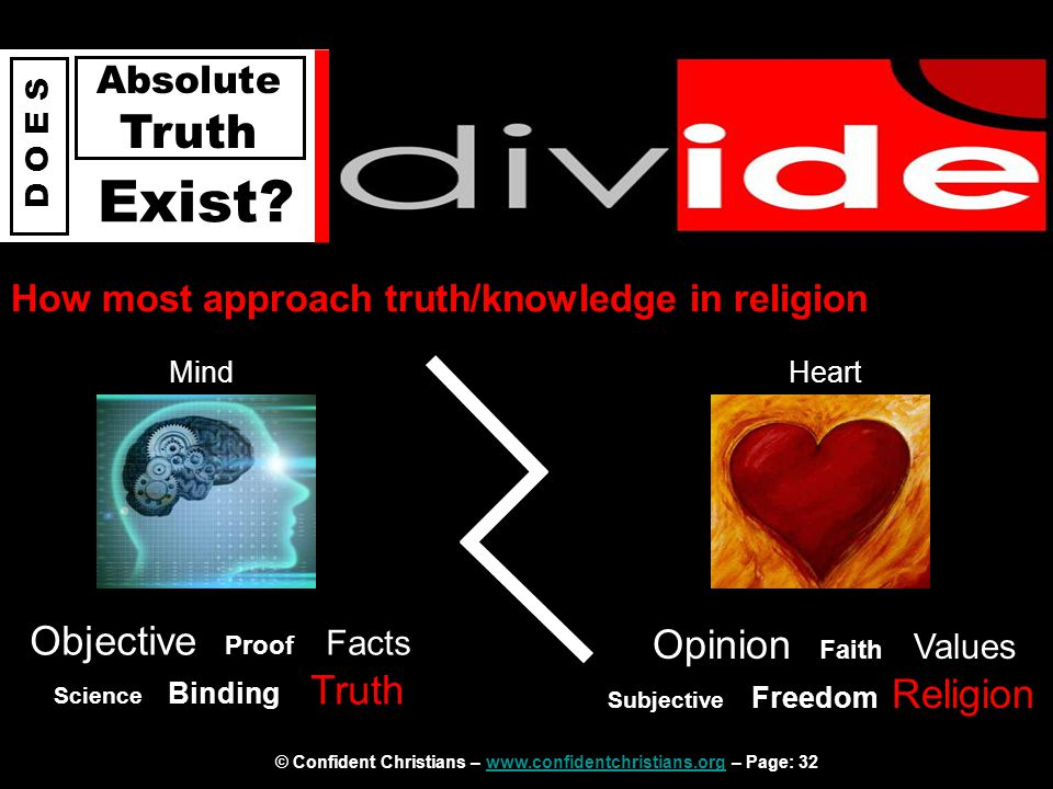 © Confident Christians – www.confidentchristians.org – Page: 32www.confidentchristians.org D O E S Absolute Truth Exist? How most approach truth/knowl