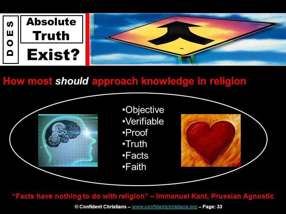 © Confident Christians – www.confidentchristians.org – Page: 33www.confidentchristians.org D O E S Absolute Truth Exist.