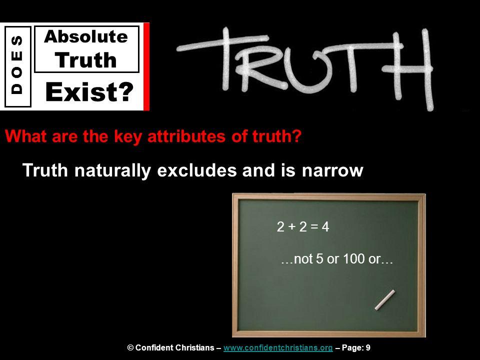 © Confident Christians – www.confidentchristians.org – Page: 9www.confidentchristians.org D O E S Absolute Truth Exist.