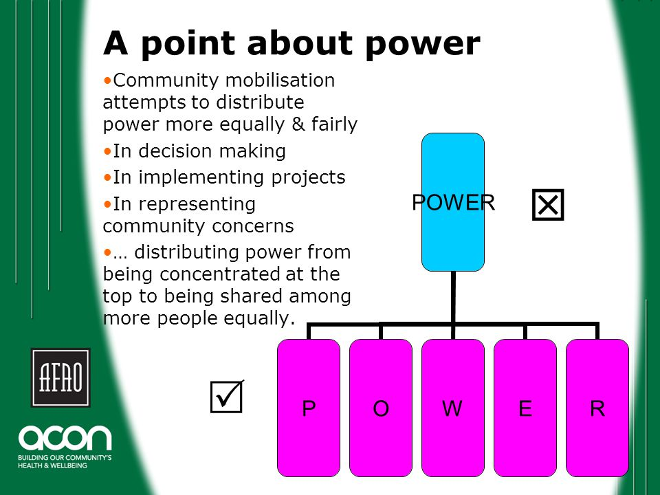 A point about power Community mobilisation attempts to distribute power more equally & fairly In decision making In implementing projects In representing community concerns … distributing power from being concentrated at the top to being shared among more people equally.
