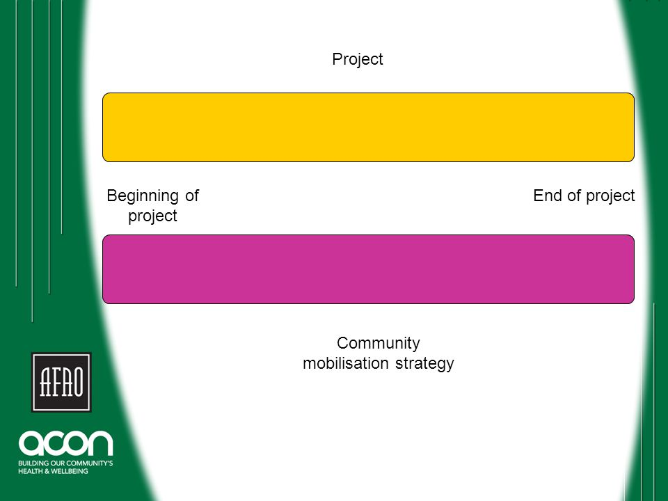 Beginning of project End of project Community mobilisation strategy Project