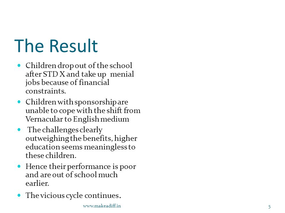 The Result Children drop out of the school after STD X and take up menial jobs because of financial constraints.