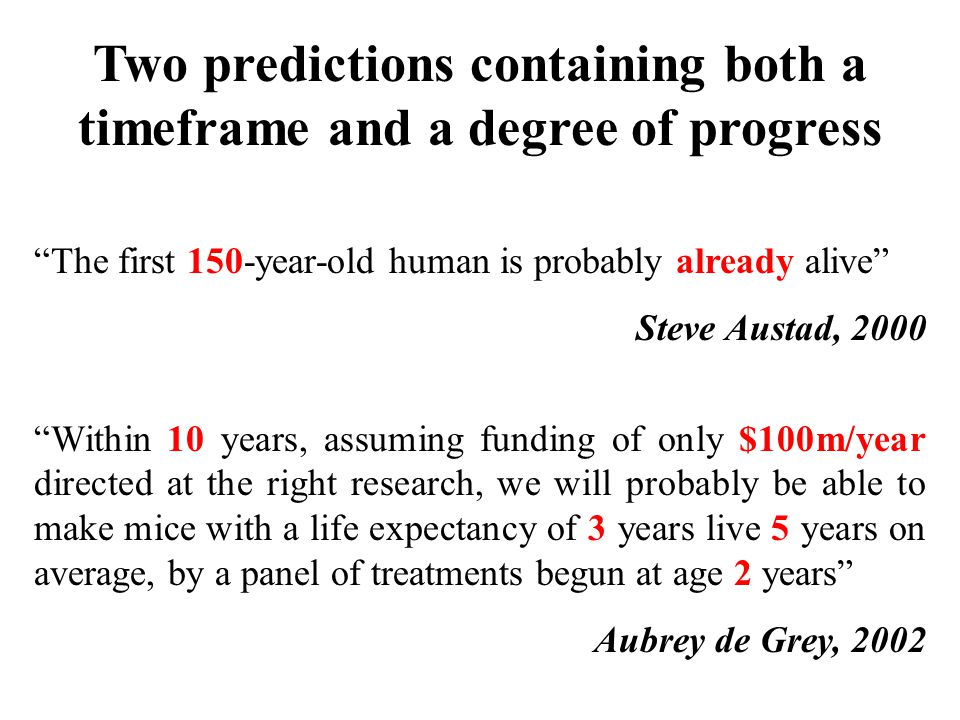 Two predictions containing both a timeframe and a degree of progress The first 150-year-old human is probably already alive Steve Austad, 2000 Within 10 years, assuming funding of only $100m/year directed at the right research, we will probably be able to make mice with a life expectancy of 3 years live 5 years on average, by a panel of treatments begun at age 2 years Aubrey de Grey, 2002
