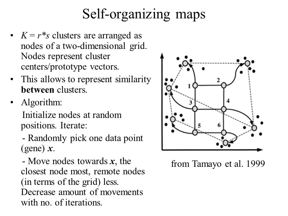 Self-organizing maps K = r*s clusters are arranged as nodes of a two-dimensional grid.