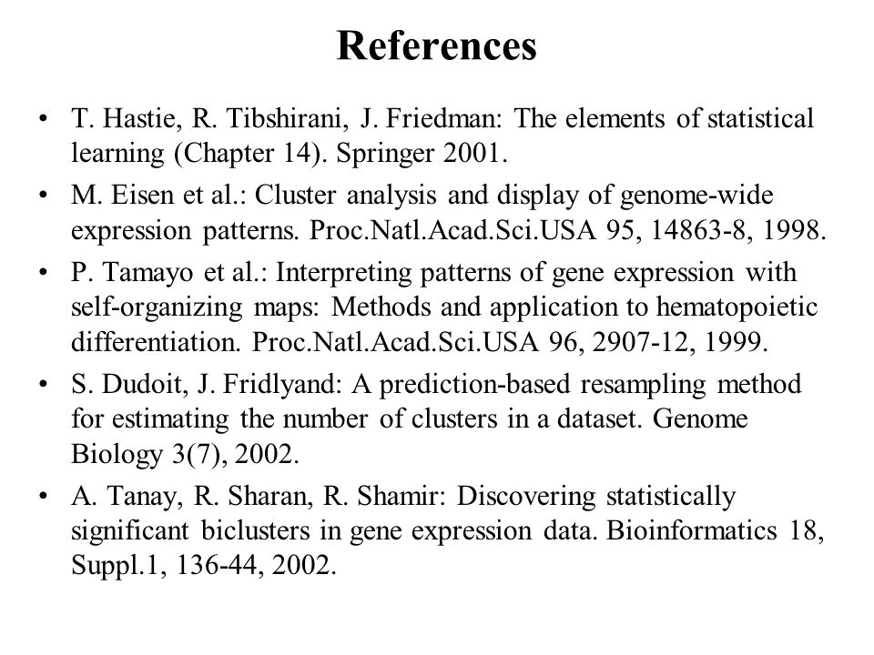 References T. Hastie, R. Tibshirani, J.