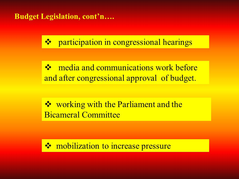 Budget Legislation, cont'n….  participation in congressional hearings  media and communications work before and after congressional approval of budg