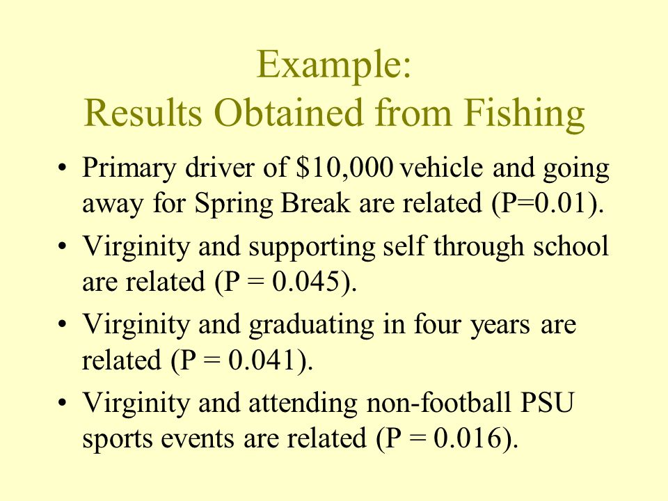 Example: Results Obtained from Fishing Primary driver of $10,000 vehicle and going away for Spring Break are related (P=0.01).