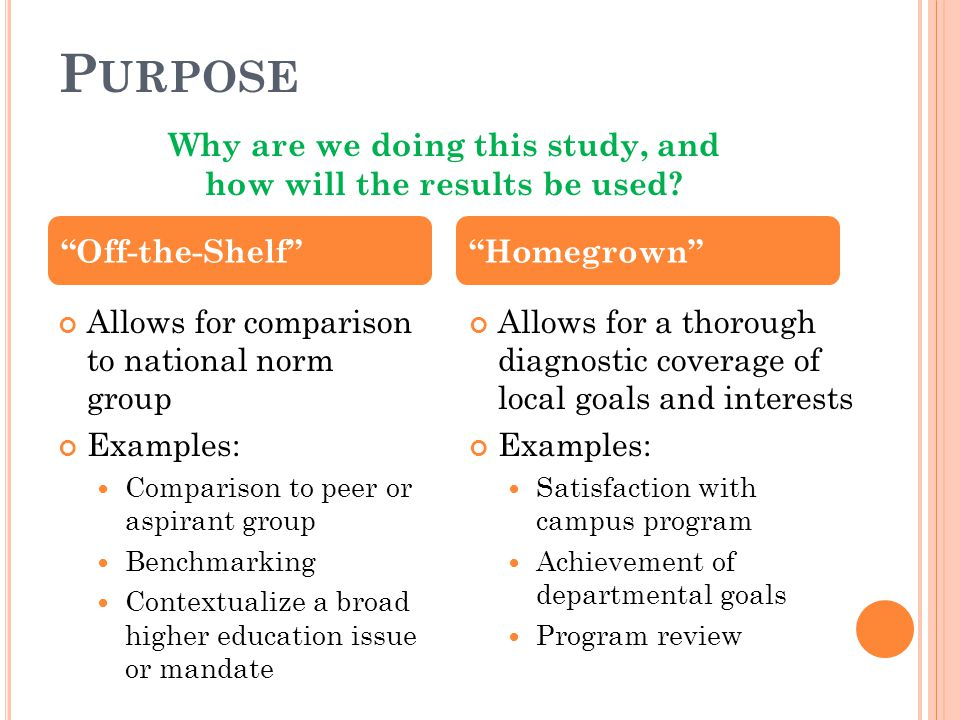 P URPOSE Allows for comparison to national norm group Examples: Comparison to peer or aspirant group Benchmarking Contextualize a broad higher educati