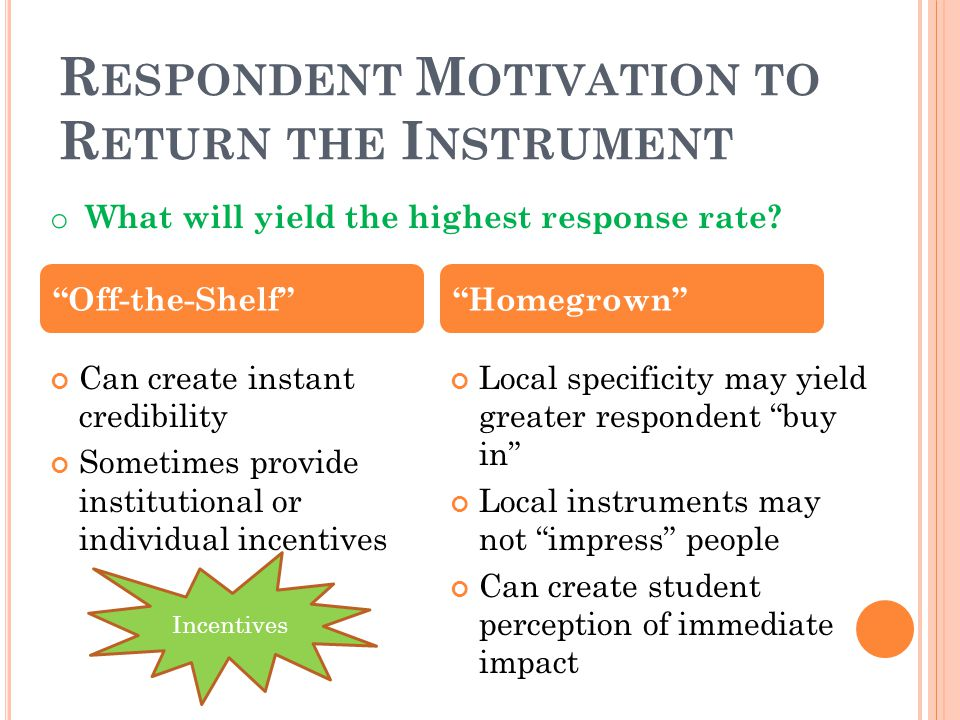 R ESPONDENT M OTIVATION TO R ETURN THE I NSTRUMENT Can create instant credibility Sometimes provide institutional or individual incentives Local speci