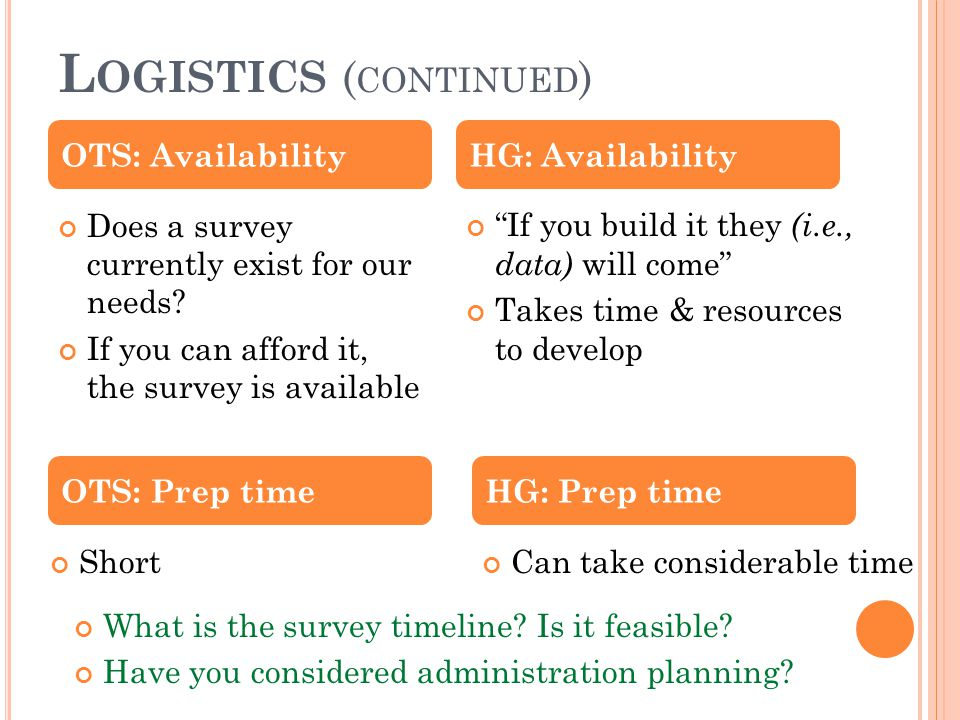 """L OGISTICS ( CONTINUED ) Does a survey currently exist for our needs? If you can afford it, the survey is available """"If you build it they (i.e., data)"""