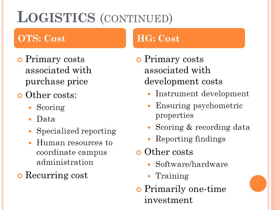 L OGISTICS ( CONTINUED ) Primary costs associated with purchase price Other costs: Scoring Data Specialized reporting Human resources to coordinate ca