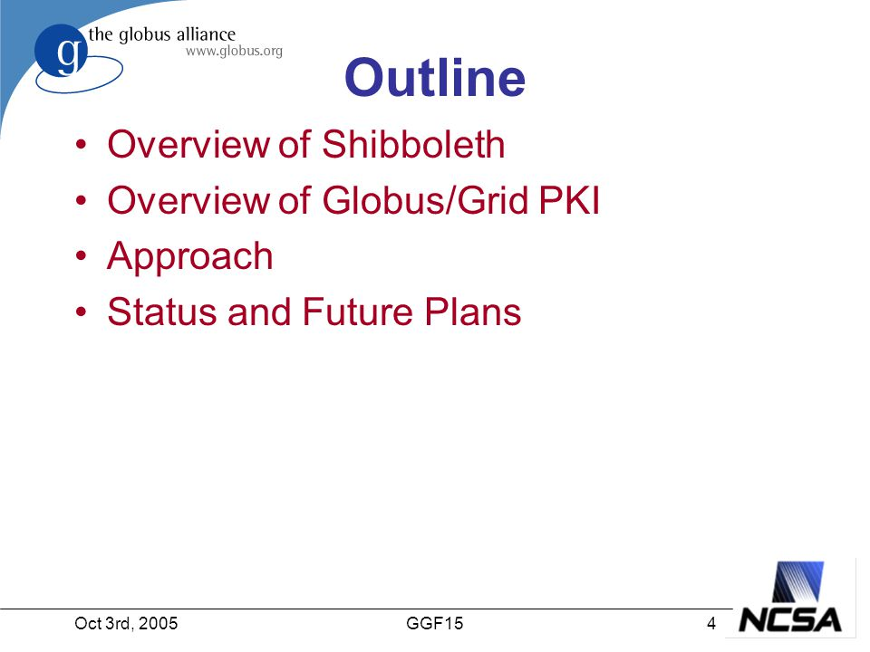 Oct 3rd, 20054GGF15 Outline Overview of Shibboleth Overview of Globus/Grid PKI Approach Status and Future Plans