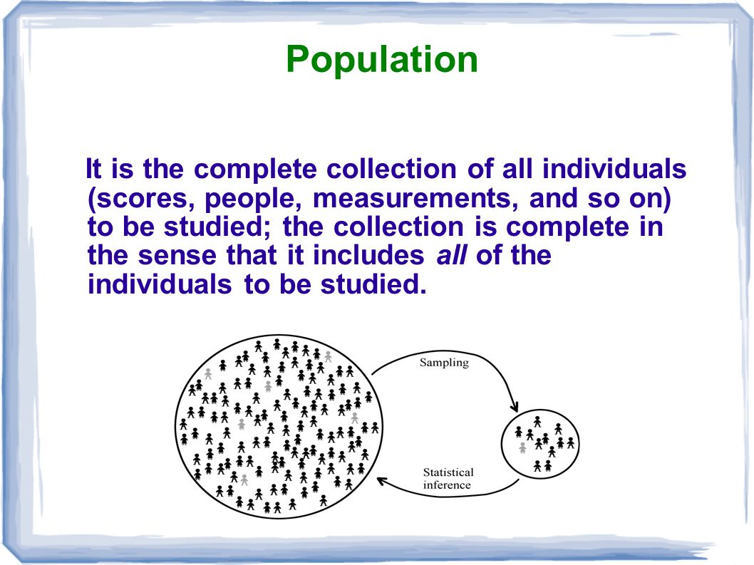 Population It is the complete collection of all individuals (scores, people, measurements, and so on) to be studied; the collection is complete in the