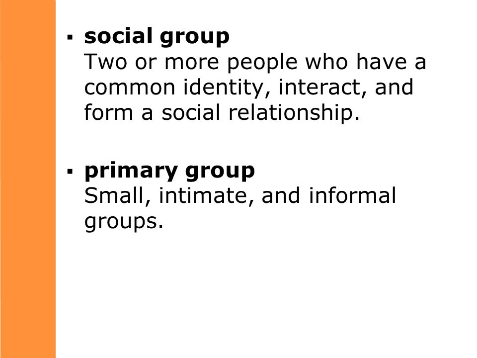  social group Two or more people who have a common identity, interact, and form a social relationship.