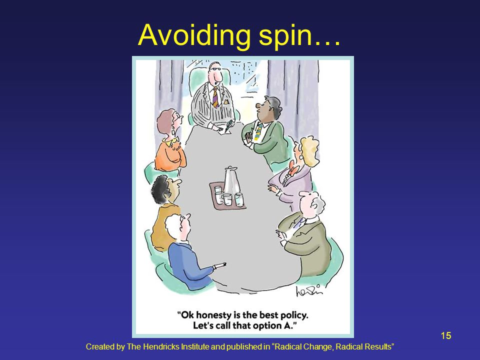 Created by The Hendricks Institute and published in Radical Change, Radical Results 15 Avoiding spin…