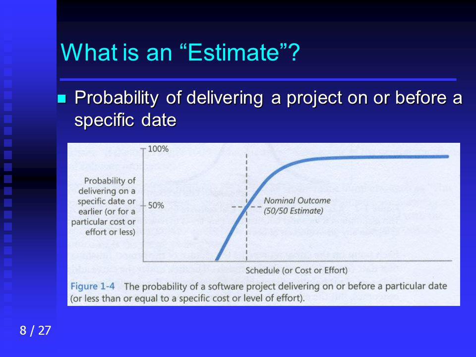 8 / 27 What is an Estimate n Probability of delivering a project on or before a specific date