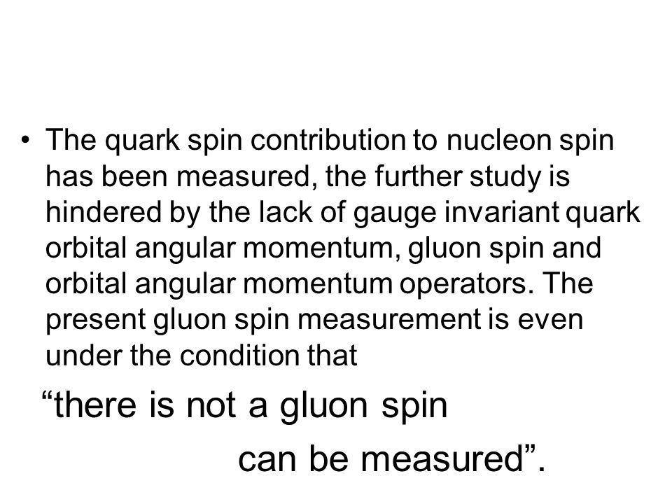The quark spin contribution to nucleon spin has been measured, the further study is hindered by the lack of gauge invariant quark orbital angular momentum, gluon spin and orbital angular momentum operators.