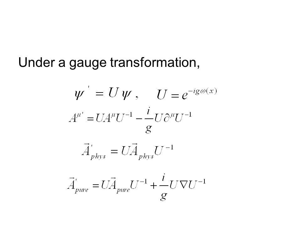 Under a gauge transformation,