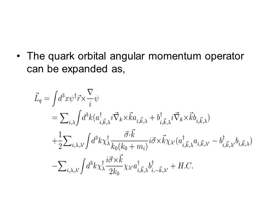 The quark orbital angular momentum operator can be expanded as,