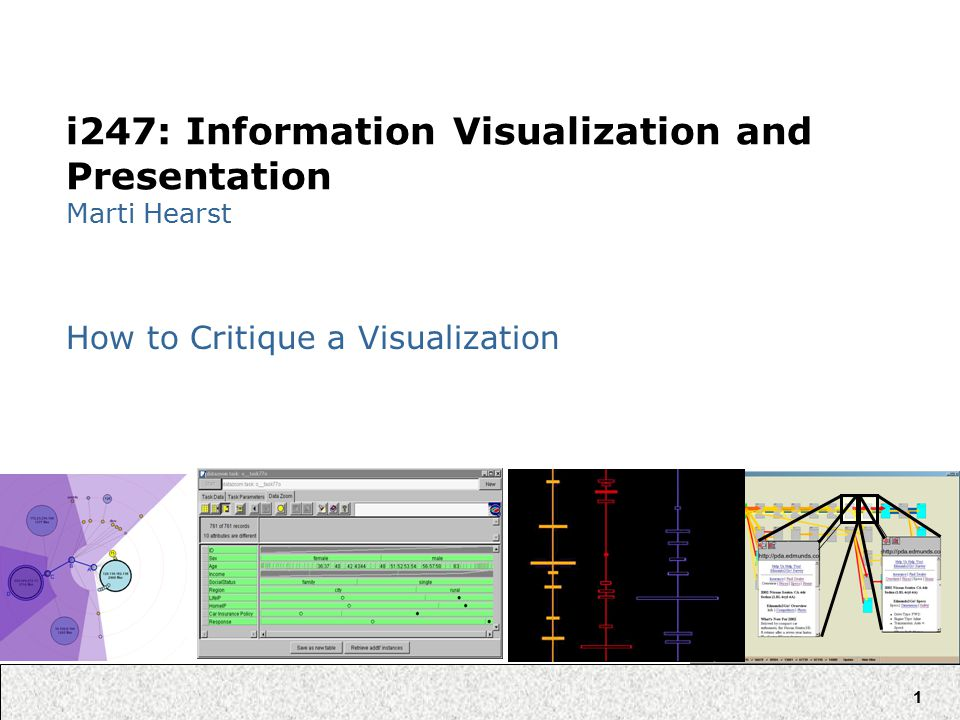 1 i247: Information Visualization and Presentation Marti Hearst How to Critique a Visualization