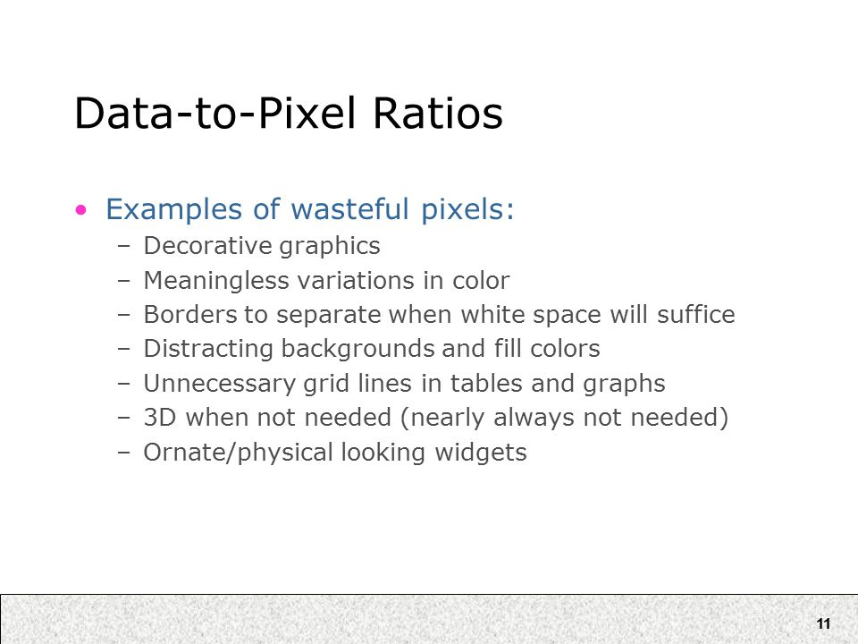 11 Data-to-Pixel Ratios Examples of wasteful pixels: –Decorative graphics –Meaningless variations in color –Borders to separate when white space will suffice –Distracting backgrounds and fill colors –Unnecessary grid lines in tables and graphs –3D when not needed (nearly always not needed) –Ornate/physical looking widgets