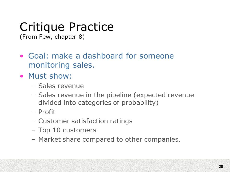 20 Critique Practice (From Few, chapter 8) Goal: make a dashboard for someone monitoring sales.