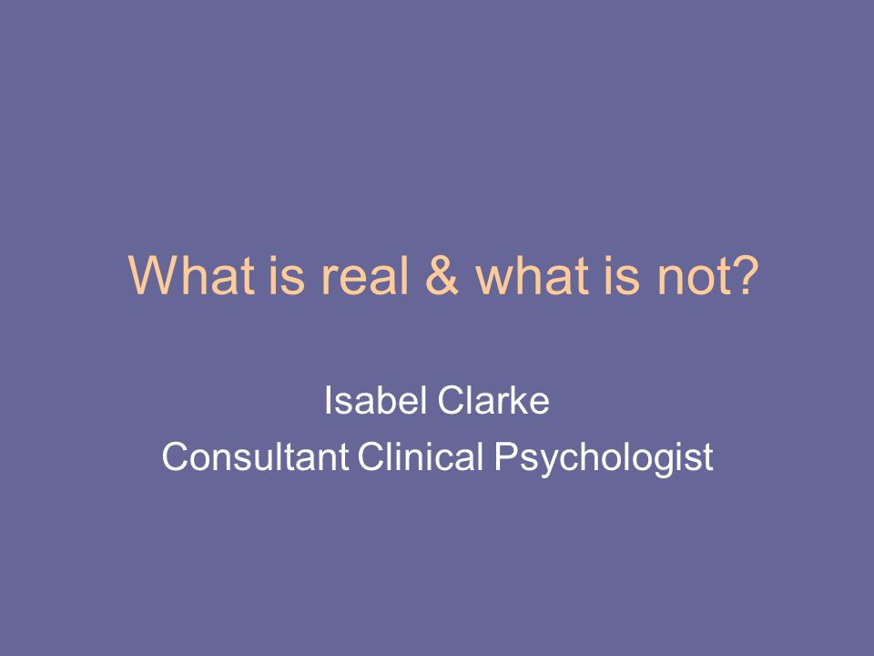 What is real & what is not?: about the programme.