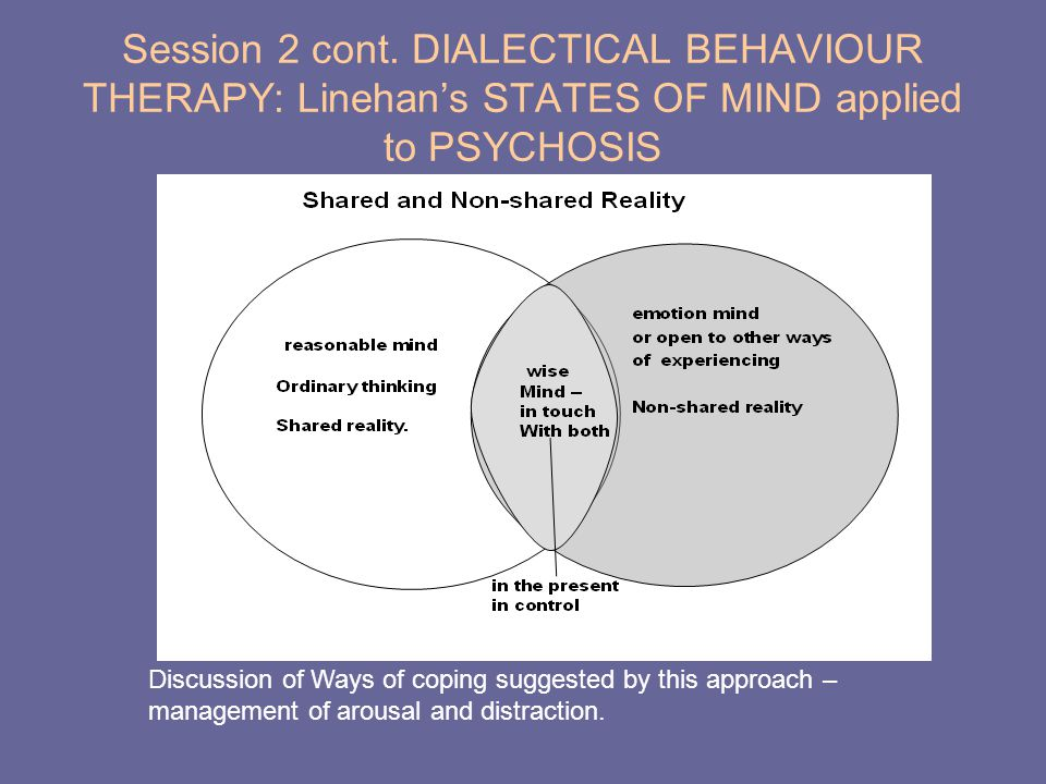 Session 2 cont. DIALECTICAL BEHAVIOUR THERAPY: Linehan's STATES OF MIND applied to PSYCHOSIS Discussion of Ways of coping suggested by this approach –
