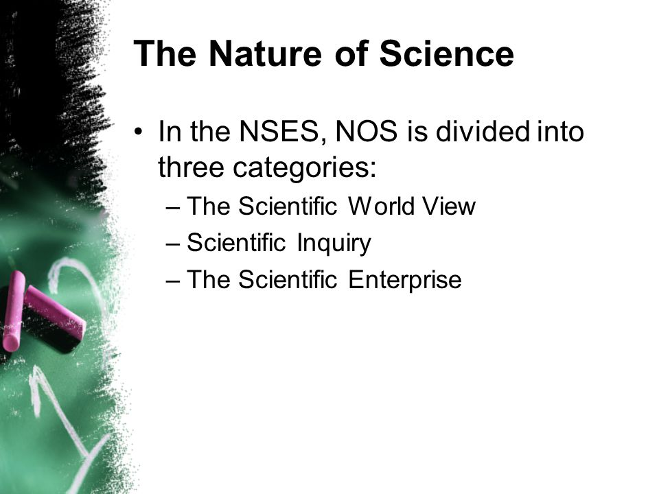 The Nature of Science In the NSES, NOS is divided into three categories: –The Scientific World View –Scientific Inquiry –The Scientific Enterprise