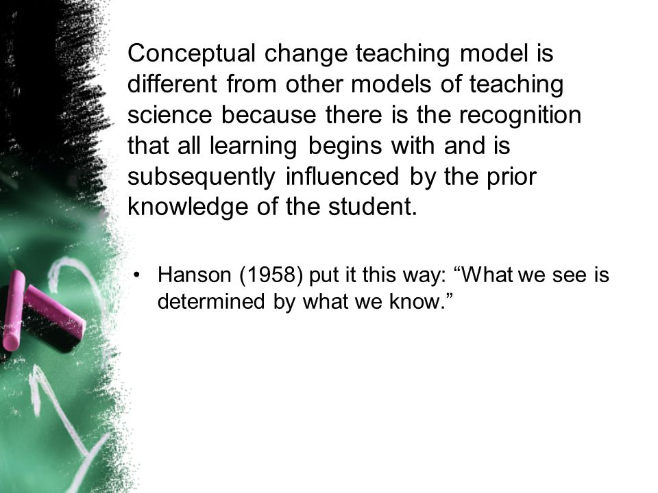 Conceptual change teaching model is different from other models of teaching science because there is the recognition that all learning begins with and is subsequently influenced by the prior knowledge of the student.