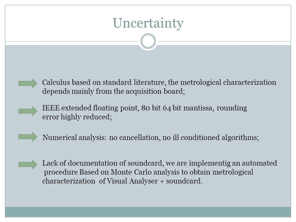 Uncertainty Calculus based on standard literature, the metrological characterization depends mainly from the acquisition board; Numerical analysis: no cancellation, no ill conditioned algorithms; IEEE extended floating point, 80 bit 64 bit mantissa, rounding error highly reduced; Lack of documentation of soundcard, we are implementig an automated procedure Based on Monte Carlo analysis to obtain metrological characterization of Visual Analyser + soundcard.