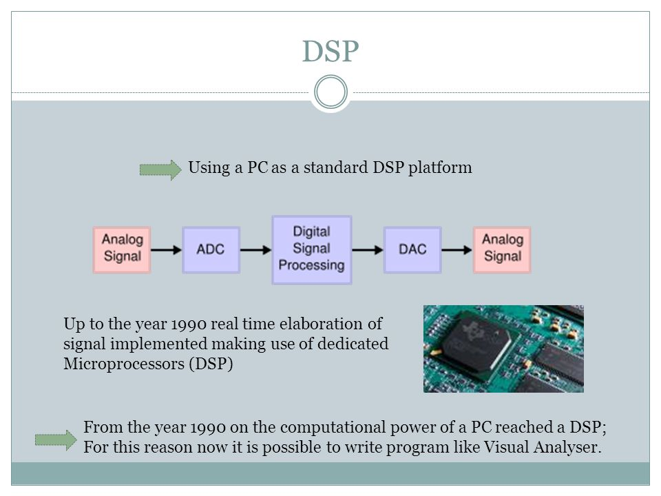DSP Using a PC as a standard DSP platform From the year 1990 on the computational power of a PC reached a DSP; For this reason now it is possible to write program like Visual Analyser.