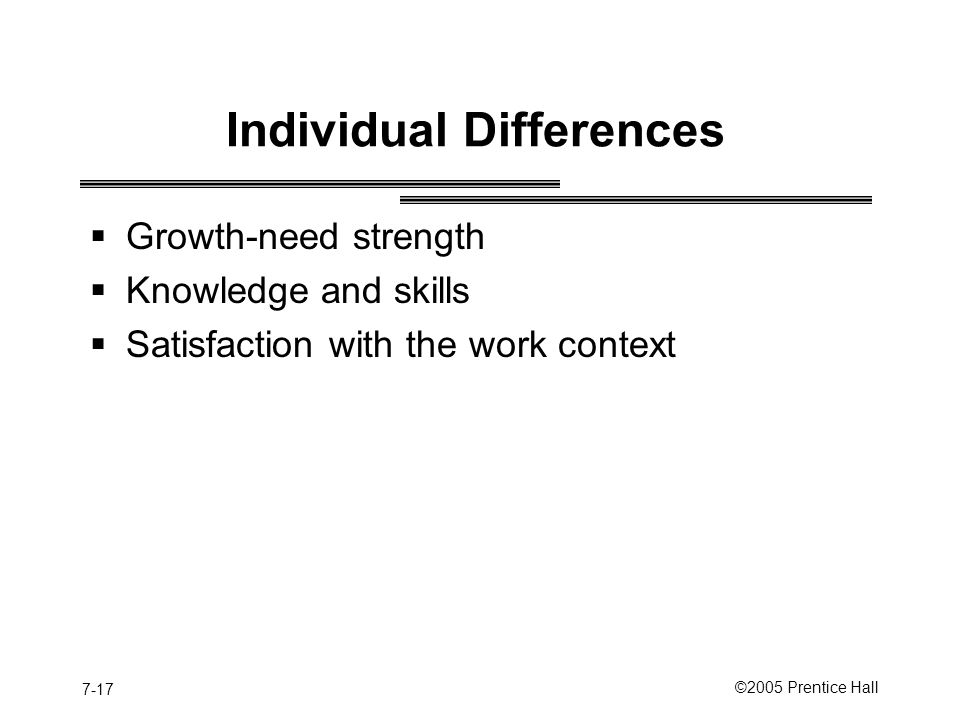 7-17 ©2005 Prentice Hall Individual Differences  Growth-need strength  Knowledge and skills  Satisfaction with the work context