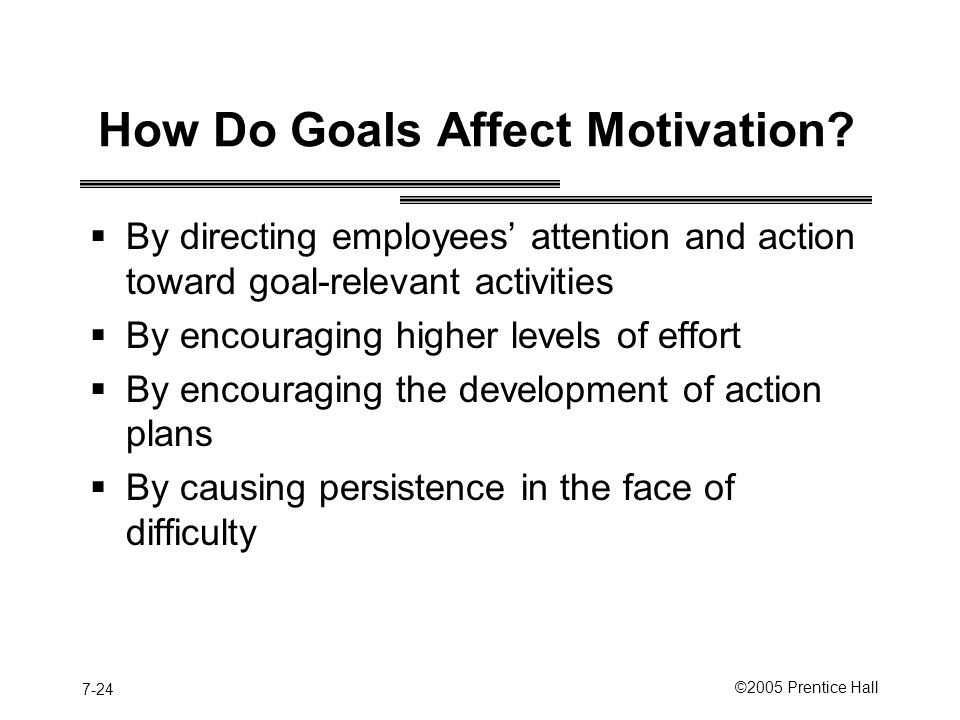 7-24 ©2005 Prentice Hall How Do Goals Affect Motivation.