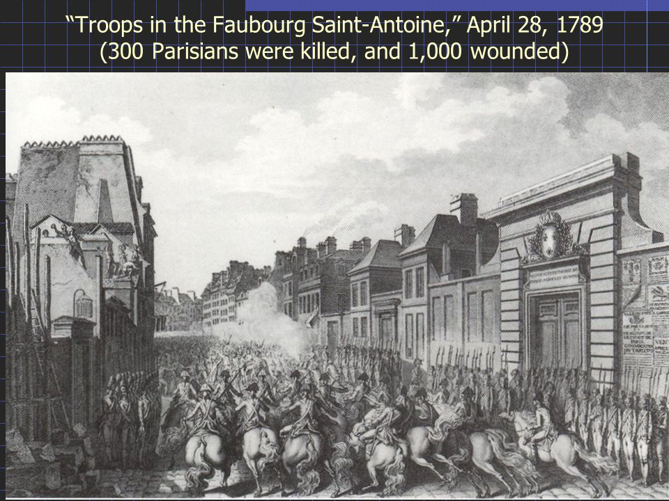 Troops in the Faubourg Saint-Antoine, April 28, 1789 (300 Parisians were killed, and 1,000 wounded)