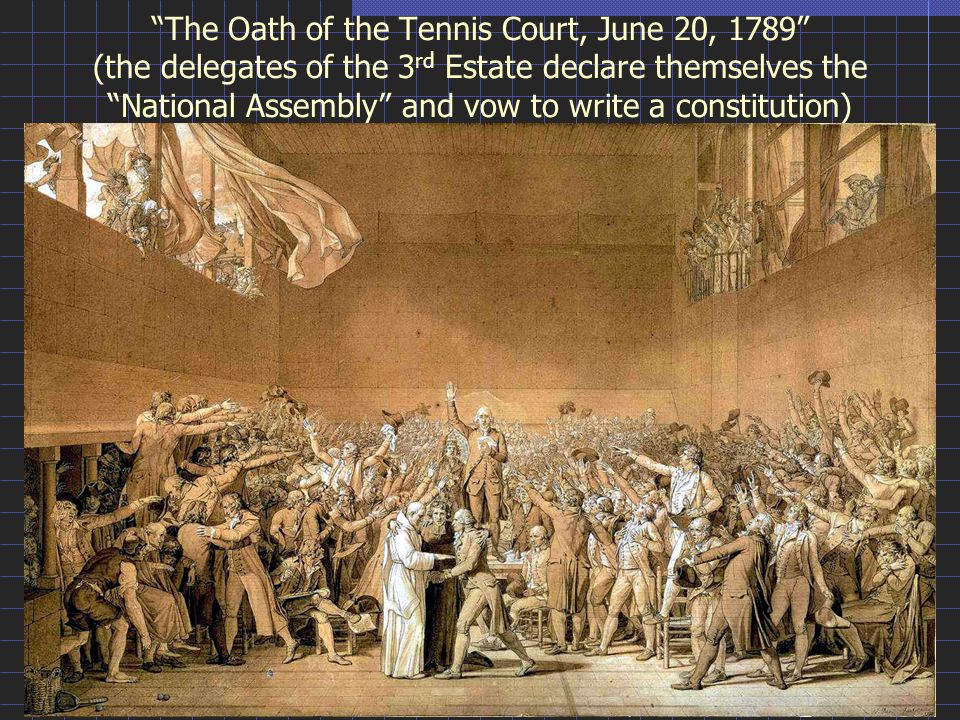 The Oath of the Tennis Court, June 20, 1789 (the delegates of the 3 rd Estate declare themselves the National Assembly and vow to write a constitution)