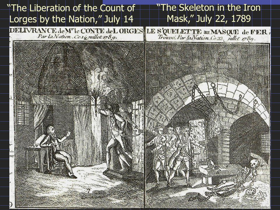 The Liberation of the Count of Lorges by the Nation, July 14 The Skeleton in the Iron Mask, July 22, 1789