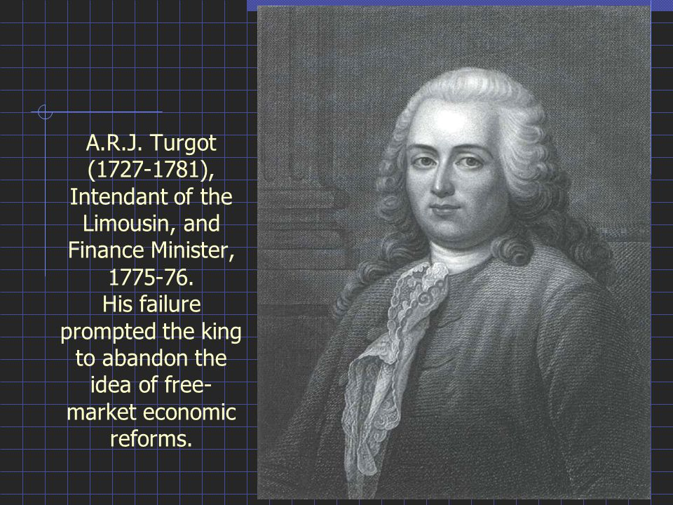 A.R.J. Turgot (1727-1781), Intendant of the Limousin, and Finance Minister, 1775-76.