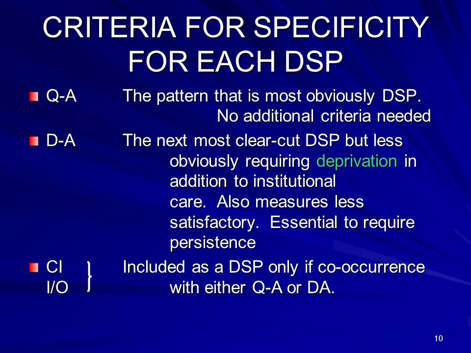 10 CRITERIA FOR SPECIFICITY FOR EACH DSP Q-AThe pattern that is most obviously DSP.