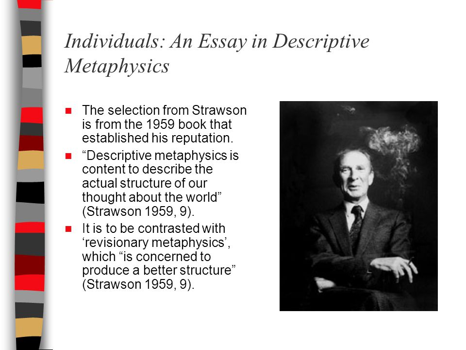 Individuals: An Essay in Descriptive Metaphysics The selection from Strawson is from the 1959 book that established his reputation.