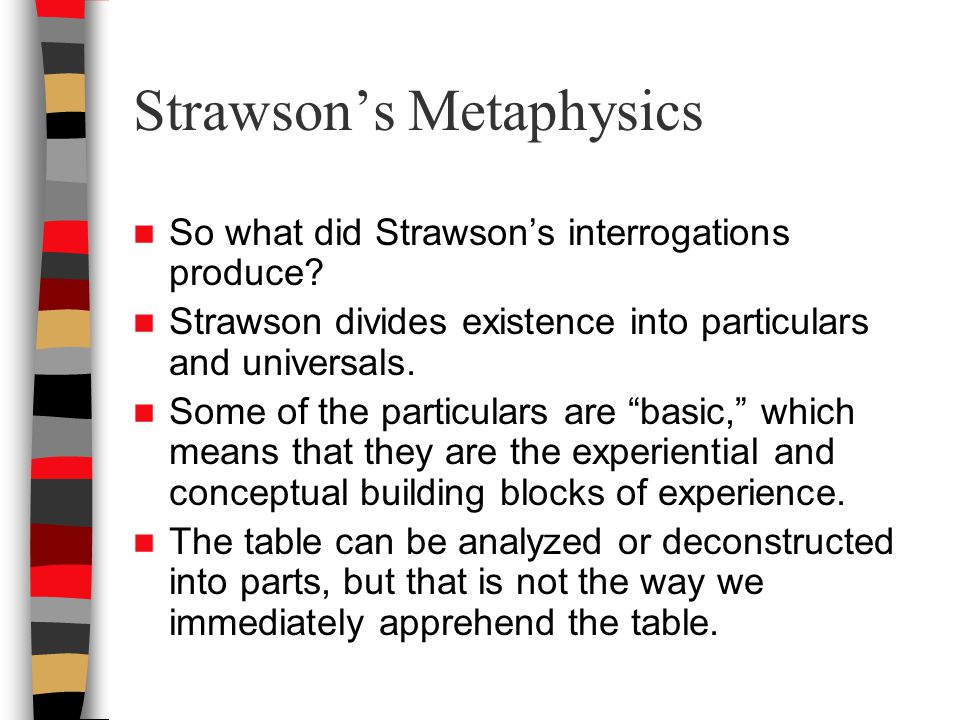 Strawson's Metaphysics So what did Strawson's interrogations produce.